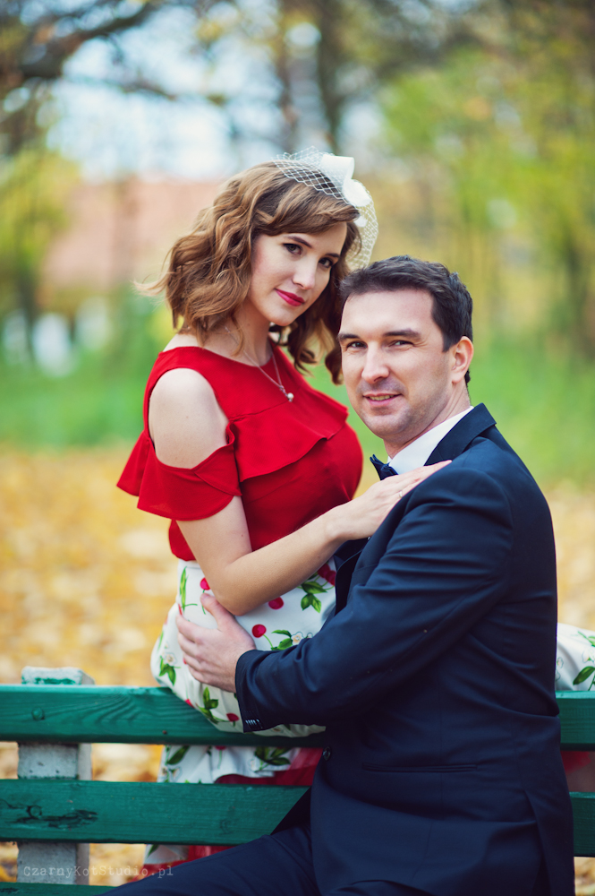 wiśniowy plener ślubny