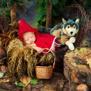 czarny kot studio, fotograf dziecięcy konin, fotografia rodzinna, stylizowane sesje noworodkowe, czerwony kapturek i wilk